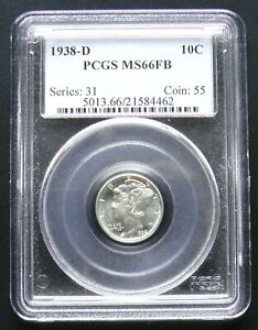 1938 D MERCURY DIME PCGS MS66 FB FULL BANDS