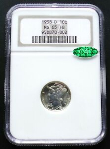1938 D MERCURY DIME CERTIFIED NGC MS65 FB CAC