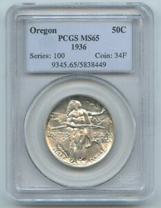 1936 OREGON COMMEMORATIVE HALF DOLLAR PCGS MS65