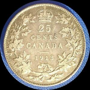 Click now to see the BUY IT NOW Price! CANADA 1913 25 CENTS   OLD SILVER WORLD COIN