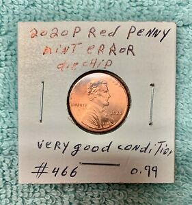 2020 P RED PENNY MINT ERROR DIE CHIP GOOD CONDITION