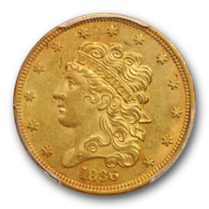 1836 $5 CLASSIC HEAD HALF EAGLE PCGS AU 58 ABOUT UNCIRCULATED EARLY US TYPE COIN
