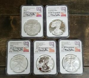2011 5 PIECE SILVER EAGLE 25TH ANNIVERSARY SET NGC 70 SIGNED BY MIKE CASTLE