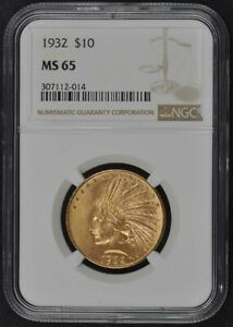 1932 INDIAN $10 NGC MS65