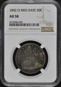 1842 O MED DATE SEATED LIBERTY NO MOTTO 50C NGC AU58