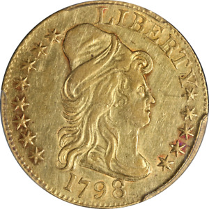 1798 LIBERTY GOLD $5 LG 8 13 STAR REVERSE PCGS AU DETAILS NICE EYE APPEAL