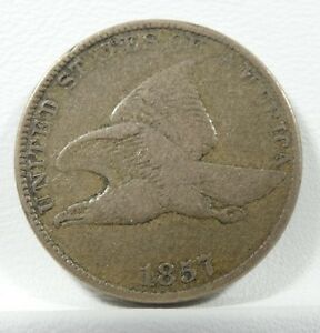 1857 FLYING EAGLE SMALL CENT FINE 1 CENT