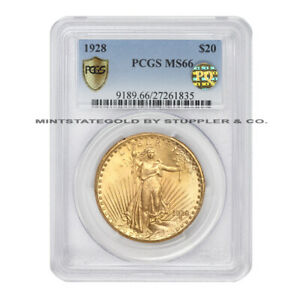 1928 $20 GOLD SAINT GAUDENS PCGS MS66 PQ APPROVED PHILADELPHIA MINT DOUBLE EAGLE