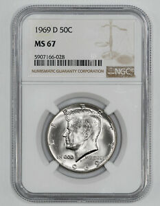 Click now to see the BUY IT NOW Price! 1969 D KENNEDY HALF DOLLAR 50C NGC MS 67 MINT STATE UNC   BLAST WHITE  028