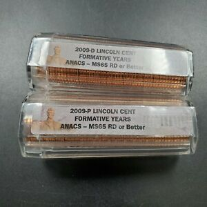 2009 P & D LINCOLN COMMEMORATIVE 2 ROLL SET FORMATIVE ANACS MS65 RED OR BETTER