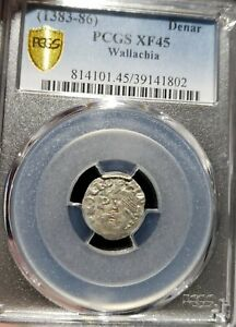 Click now to see the BUY IT NOW Price! DAN I 1383 1386 AD WALLACHIA. SILVER DENAR. PCGS XF 45.