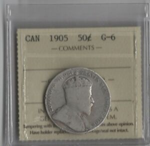 1905 SILVER ICCS CERTIFIED G 6 CANADA 50 CENTS SILVER COIN