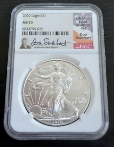 2020 1 OZ AMERICAN SILVER EAGLE   DON EVERHART SIGNED LABEL   NGC MS 70