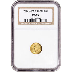 Click now to see the BUY IT NOW Price! 1905 US GOLD $1 LEWIS AND CLARK COMMEMORATIVE   NGC MS65