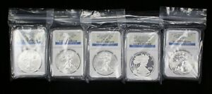 SET OF 5 2011 ASE 25TH ANNIV. EARLY RELEASE NGC MS/PF 70  SET   07605