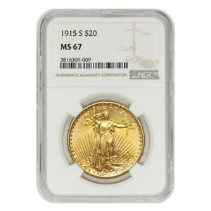 Click now to see the BUY IT NOW Price!  1915 S $20 SAINT GAUDENS NGC MS67 GRADED SAN FRANCISCO GOLD DOUBLE EAGLE