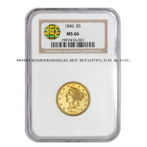 Click now to see the BUY IT NOW Price! FINEST KNOWN 1840 $5 LIBERTY HEAD NGC MS66 GEM GRADED PQ APPROVED SEMI PL