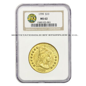 1799 $10 CAPPED BUST LIBERTY NGC MS62 PQ HERALDIC EAGLE LY  GOLD COIN
