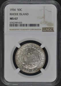 RHODE ISLAND 1936 SILVER COMMEMORATIVE 50C NGC MS67