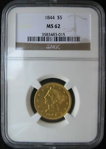 1844 $5 GOLD LIBERTY CORONET NO MOTTO HALF EAGLE NGC MS 62 ONLY 13 GRADED HIGHER