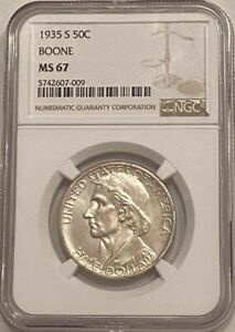 1935 S BOONE SILVER COMMEMORATIVE HALF DOLLAR NGC MS 67   BEAUTIFUL WHITE COIN