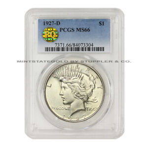 Click now to see the BUY IT NOW Price!  1927 D $1 PEACE PCGS MS66 PQ APPROVED GEM GRADED DENVER SILVER DOLLAR COIN