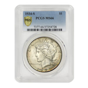 Click now to see the BUY IT NOW Price! 1934 S $1 SILVER PEACE PCGS MS66 KEY DATE SAN FRANSISCO GEM GRADED DOLLAR COIN