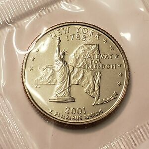 2001 P NEW YORK STATE QUARTER IN CELLO FROM U.S. MINT SET BU CAMEO