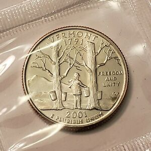 2001 P VERMONT STATE QUARTER IN CELLO FROM U.S. MINT SET BU CAMEO