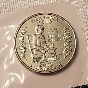 2003 D ALABAMA STATE QUARTER IN CELLO FROM U.S. MINT BRILLIANT UNCIRCULATED