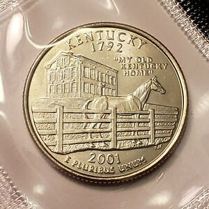 2001 D KENTUCKY STATE QUARTER IN CELLO FROM U.S. MINT SET BU CAMEO