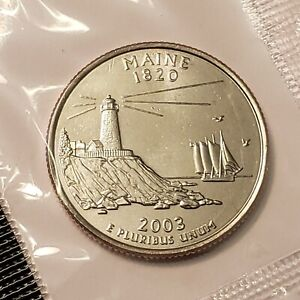 2003 D MAINE STATE QUARTER IN CELLO FROM U.S. MINT BRILLIANT UNCIRCULATED