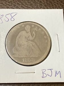 1858 SEATED LIBERTY HALF DOLLAR. BJM