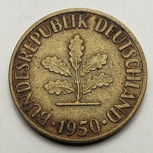 1950 F GERMANY 10 PFENNIG STUTTGART MINT KM 108