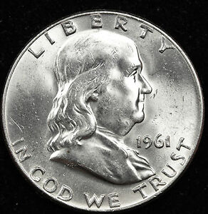 1961 D FRANKLIN HALF DOLLAR.  FULLY SEPARATED HORIZONTAL BELL LINE'S.  BU. INV.A