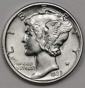 1939 S MERCURY DIME. 66  FULLY SEPARATED HORIZONTAL BANDS. HIGH GRADE. INVENTORY
