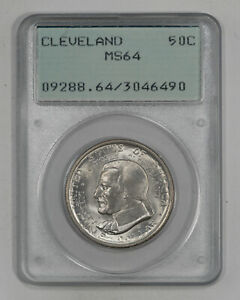 1936 CLEVELAND COMMEMORATIVE HALF DOLLAR 50C PCGS MS 64 MINT STATE UNC  490