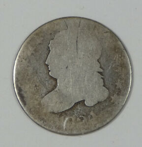 1824/2 CAPPED BUST SILVER DIME POOR SILVER 10C