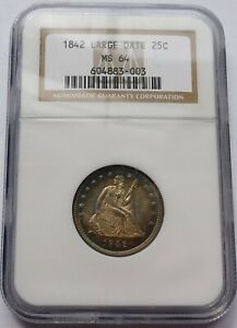 1842 LARGE DATE 25C SEATED LIBERTY QUARTER   NGC MS 64  GRADE AMONG FINEST