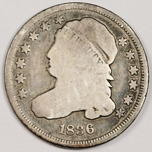 1836 BUST DIME.  NEAR FULL LIBERTY.  NATURAL UNCLEANED FULL RIMS.  158882