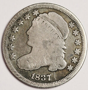 1837 BUST DIME.  FULL LIBERTY.  FULL RIMS.  158895