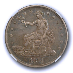 1874 $1 TRADE DOLLAR NGC AU 50 ABOUT UNCIRCULATED ORIGINAL TONED BETTER DATE