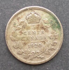1920 SILVER 5 CENTS GEORGE V