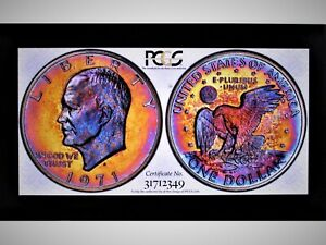Click now to see the BUY IT NOW Price! 1971 EISENHOWER DOLLAR PR67DCAM SILVER ULTIMATE DUAL TONED ARTISTIC GEM PQ PCGS