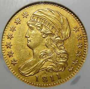 1811 TALL 5 NGC AU58 $5 CAPPED BUST GOLD
