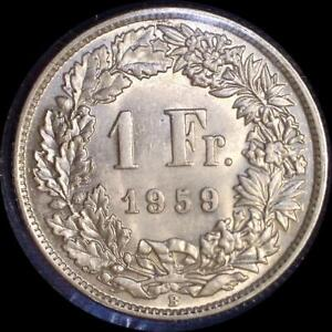 Click now to see the BUY IT NOW Price! SWITZERLAND 1959 1 FRANC OLD WORLD SILVER COIN  HIGH GRADE