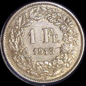 Click now to see the BUY IT NOW Price! SWITZERLAND 1943 1 FRANC OLD WORLD SILVER COIN HIGH GRADE
