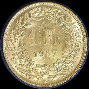 Click now to see the BUY IT NOW Price! SWITZERLAND 1957 1 FRANC OLD WORLD SILVER COIN  BU