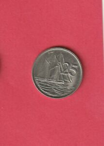 CAYMAN ISLANDS KM4 1982 UNCIRCULATED UNC MINT 25 CENTS OLD  SAILBOAT COIN