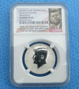 2014 W NGC PF 69 REVERSE PROOF SILVER KENNEDY 50TH ANNIVERSARY HALF DOLLAR COIN